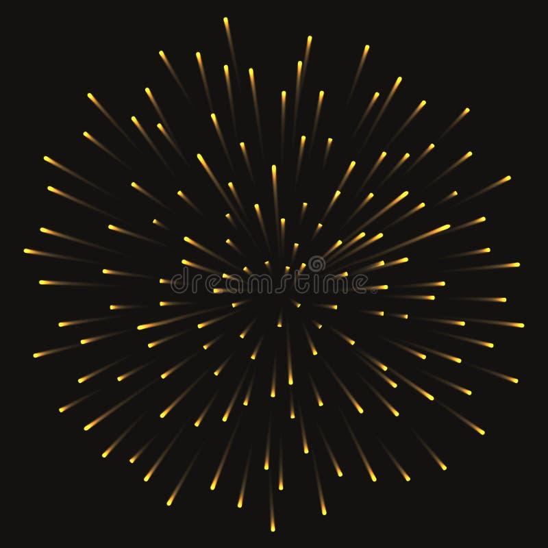 Saudação dourada festiva do fogo de artifício estourada no fundo transparente Ilustração do vetor ilustração royalty free