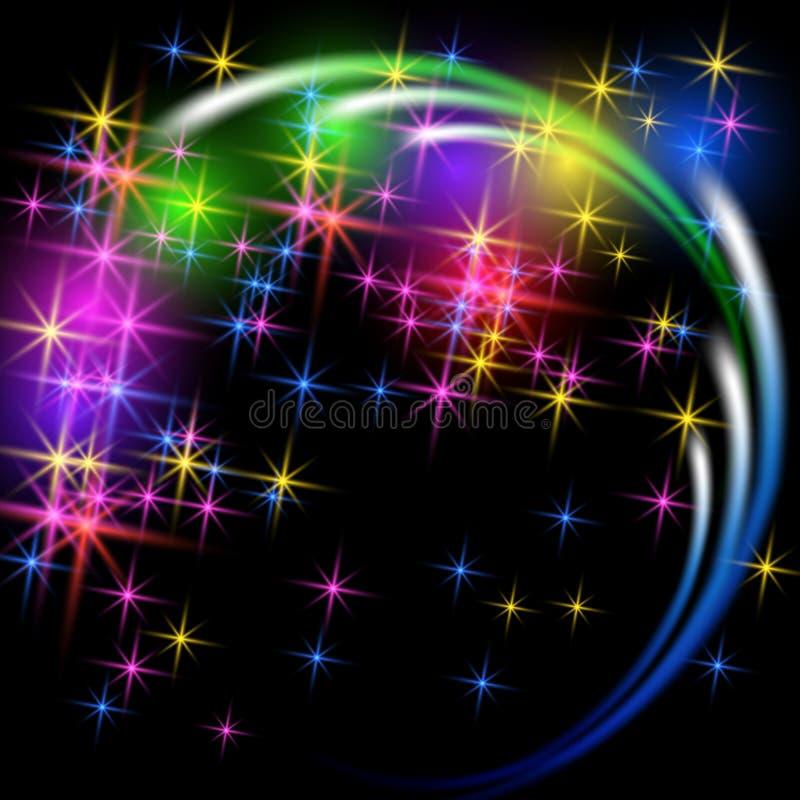 Saudação e fogo de artifício com estrelas da faísca ilustração do vetor