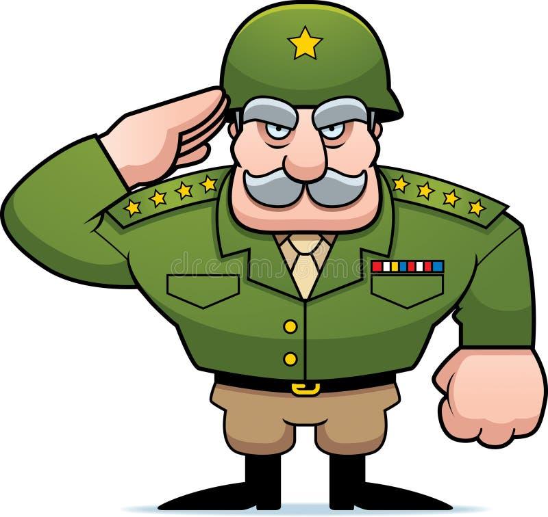 Saudação geral militar dos desenhos animados ilustração royalty free