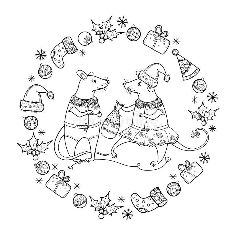Saudação vetorial com ratos contorcidos com saco de Natal em preto isolado Símbolo do Ano Novo Chinês 2020 no estilo do contorno ilustração royalty free