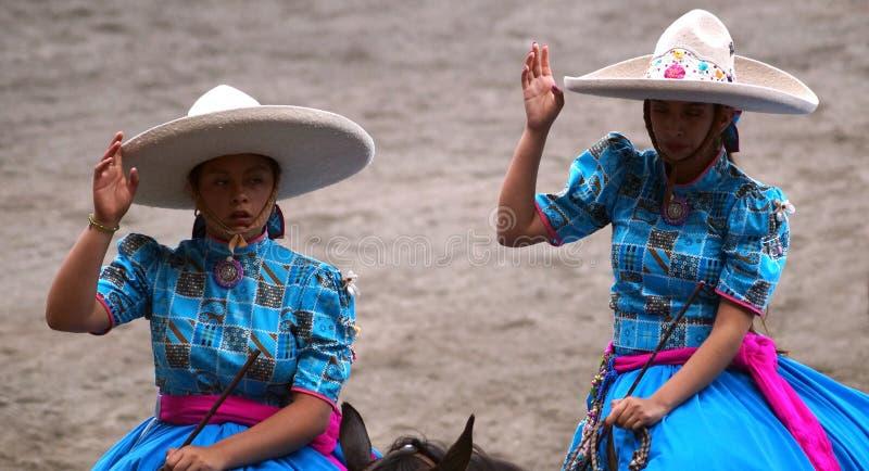 Saudações fêmeas dos cavaleiros em vestidos azuis fotos de stock royalty free