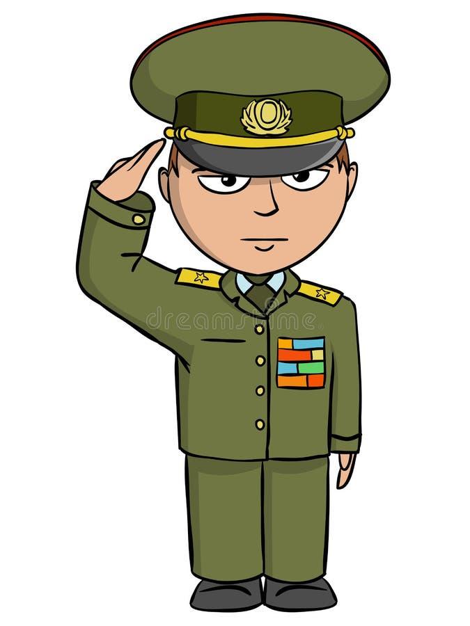 Saudações militares do homem dos desenhos animados ilustração royalty free