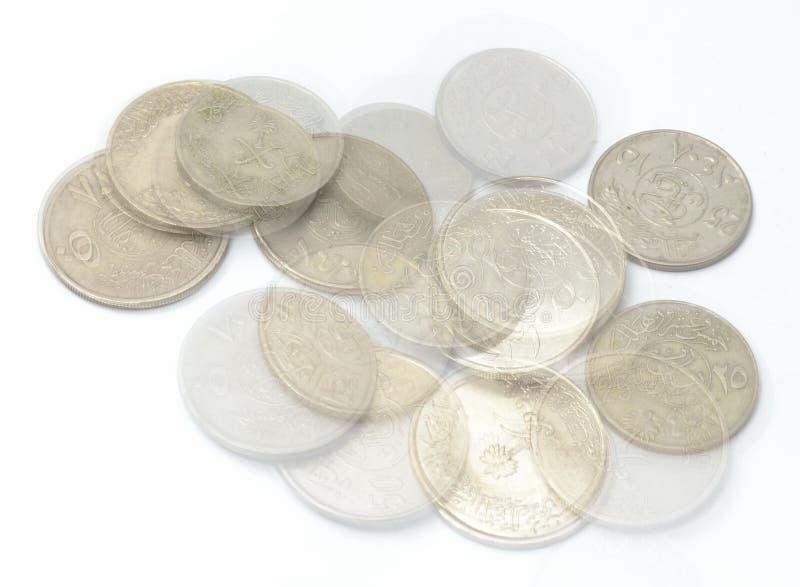 Saudi монетки металла стоковые фото