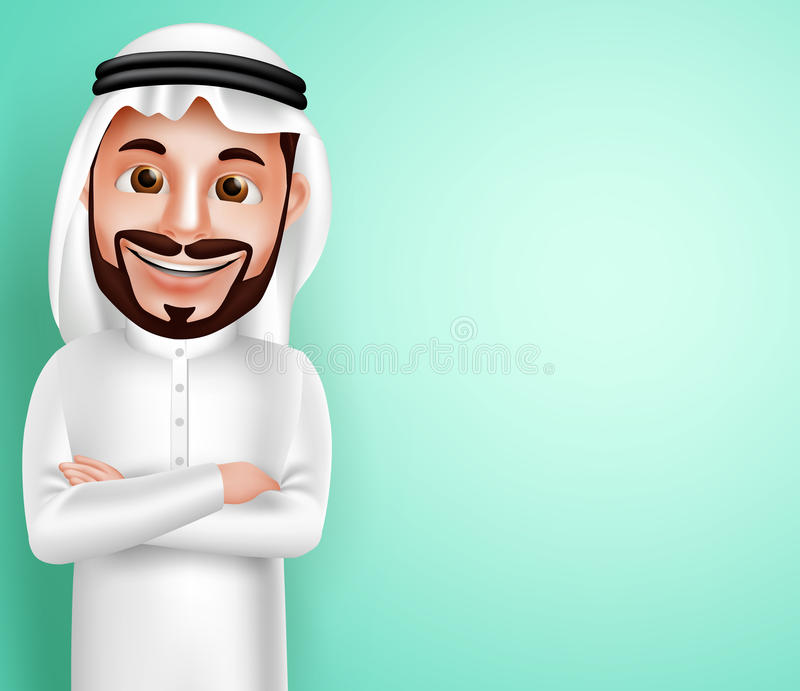 Saudi arab man vector character wearing thobe happy posing with blank space. In the background for text contents. Vector illustration royalty free illustration