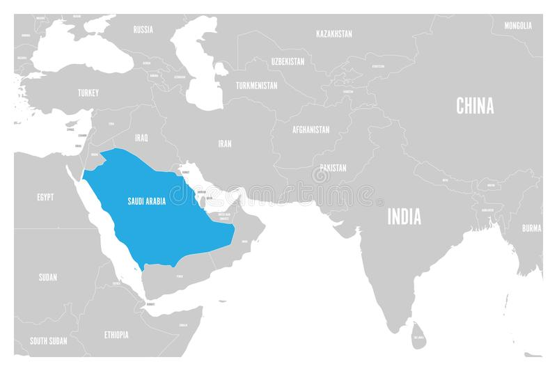 Saudi Arabia Blue Marked In Political Map Of South Asia And Middle