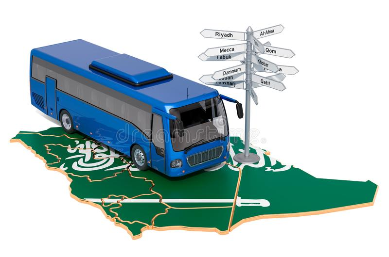 Saudi Arabia Bus Tours concept. 3D rendering. Isolated on white background vector illustration