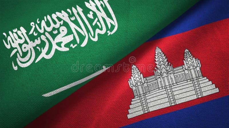 Saudi Arabia and Cambodia two flags textile cloth, fabric texture vector illustration