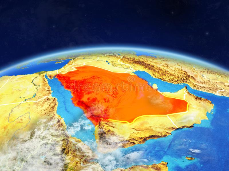 Saudi Arabia on Earth from space. Saudi Arabia on planet Earth with country borders and highly detailed planet surface and clouds. 3D illustration. Elements of stock photography