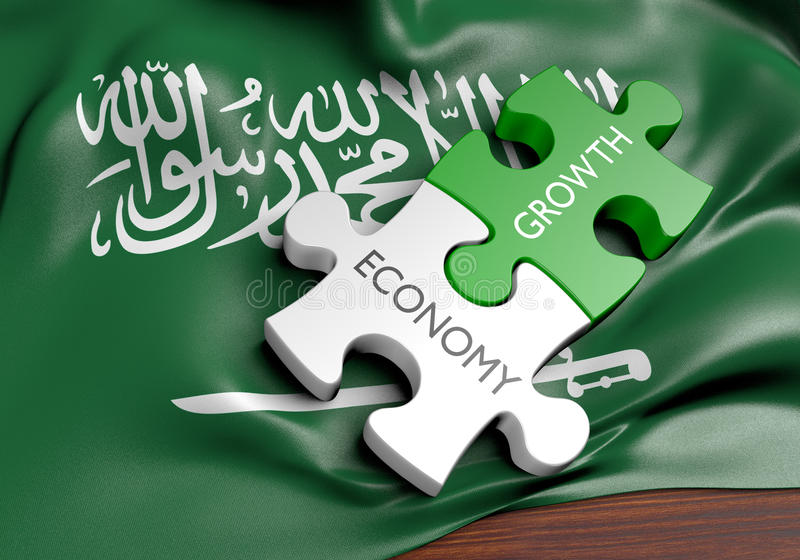 Saudi Arabia economy and financial market growth concept. 3D rendered concept of Saudi Arabia`s economy and financial market growth royalty free illustration