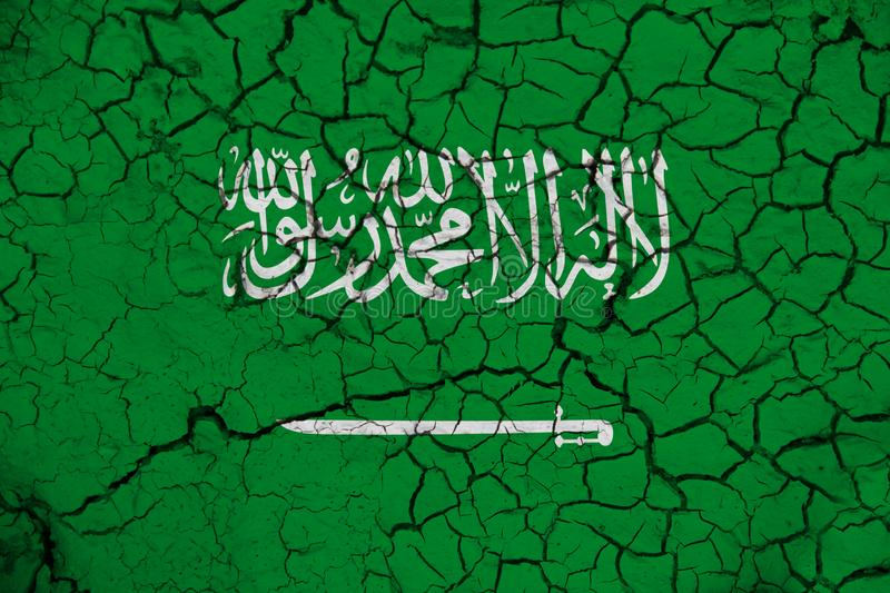 Saudi Arabia flag on the background texture. Concept for designer solutions.  stock photo