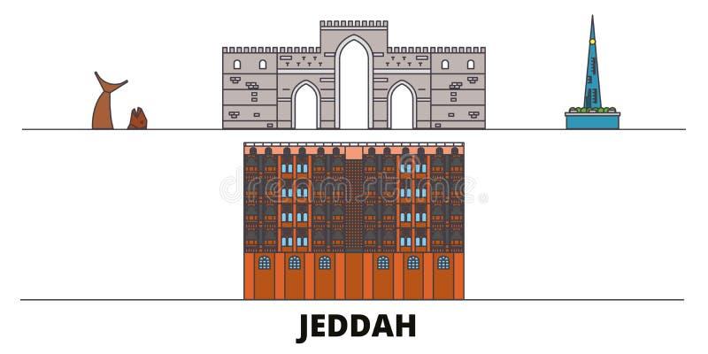 Saudi Arabia, Jeddah flat landmarks vector illustration. Saudi Arabia, Jeddah line city with famous travel sights stock illustration