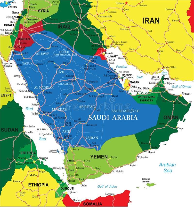 Saudi Arabia Map Royalty Free Stock Image