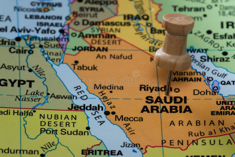 Saudi Arabia on a map stock images