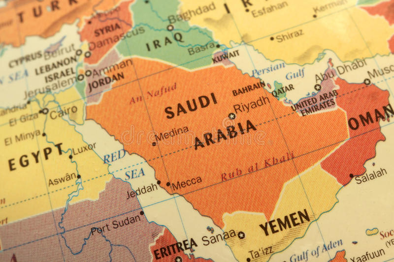 Saudi Arabia map on globe. Map of Saudi Arabia and Gulf countries on globe stock photography