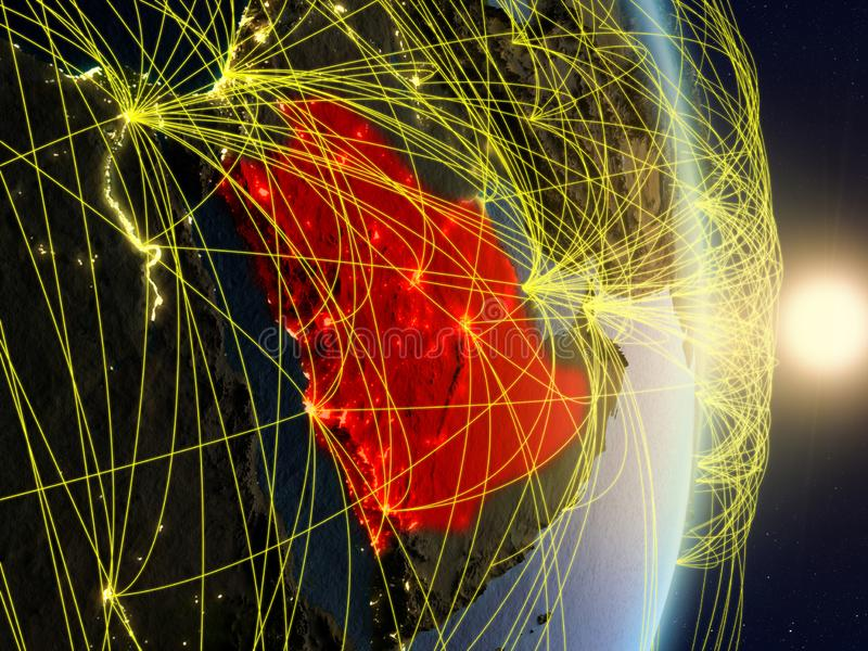 Saudi Arabia on networked planet Earth. Saudi Arabia in sunrise on planet planet Earth with network. Concept of connectivity, travel and communication. 3D stock photos