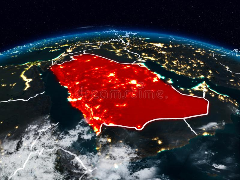 Saudi Arabia at night. Saudi Arabia from space at night on Earth with visible country borders. 3D illustration. Elements of this image furnished by NASA royalty free stock photography