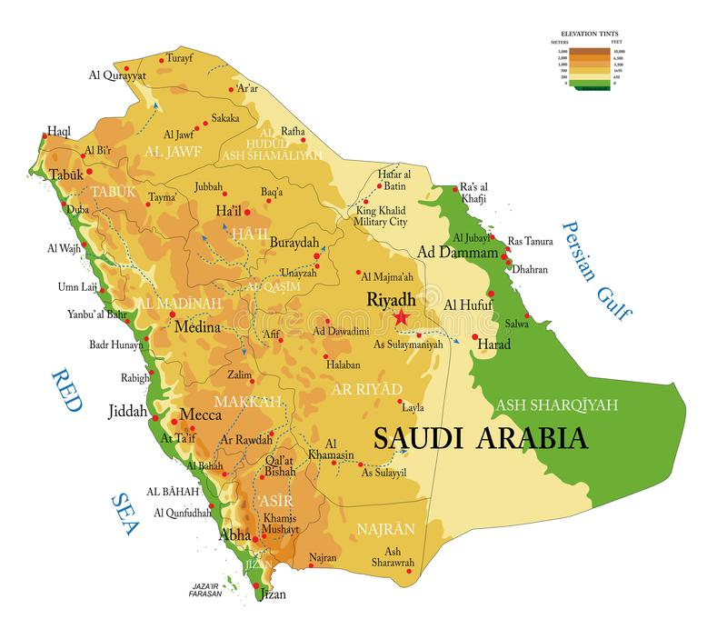 Saudi Arabia physical map royalty free stock images