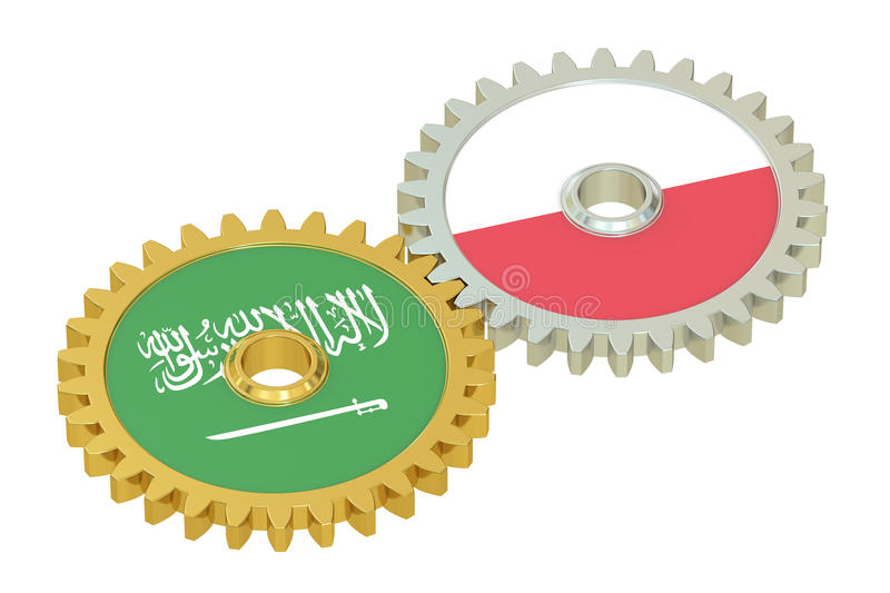 Saudi Arabia and Poland flags on a gears, 3D rendering stock illustration
