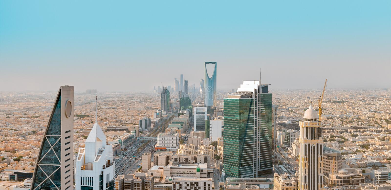 Saudi Arabia Riyadh landscape at Mourning - Riyadh Tower Kingdom Centre, Kingdom Tower, Riyadh Skyline - Burj Al-Mamlaka,. AlMamlakah - Riyadh at Daylight stock photography