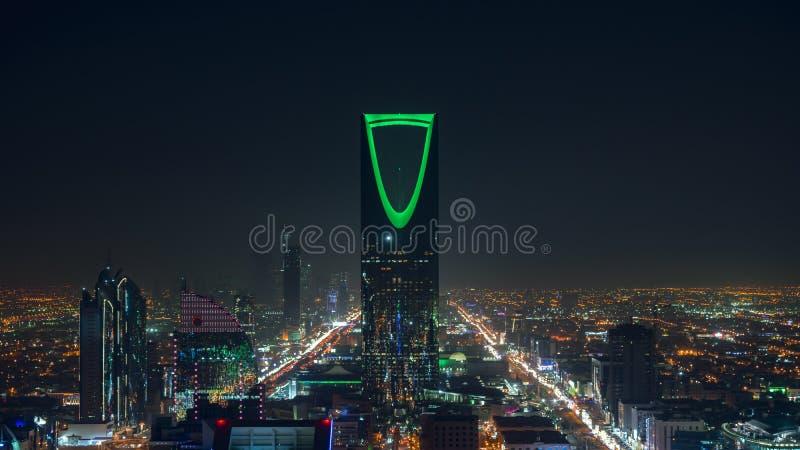 Saudi Arabia Riyadh landscape at night - Riyadh Tower Kingdom Centre - Kingdom Tower – Riyadh Skyline - Burj Al-Mamlaka –. Saudi Arabia Riyadh landscape at stock image