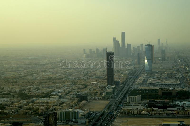 Saudi Arabia. Riyadh. The view from the top. City panorama. Sand fog. royalty free stock photography