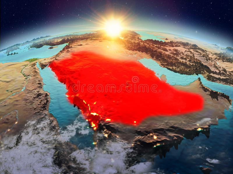 Saudi Arabia from space in sunrise. Satellite view of Saudi Arabia highlighted in red on planet Earth with clouds during sunrise. 3D illustration. Elements of stock photo