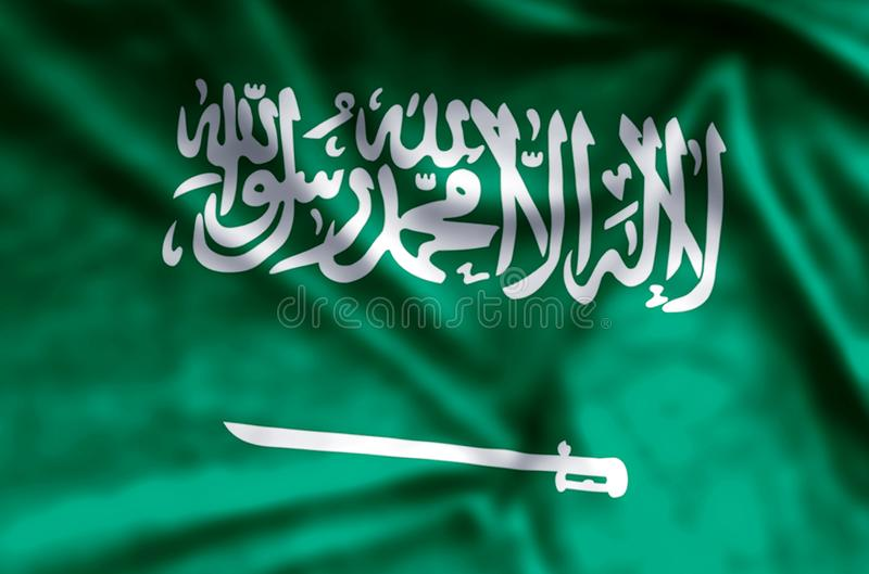 Saudi Arabia. Stylish waving and closeup flag illustration. Perfect for background or texture purposes stock photos
