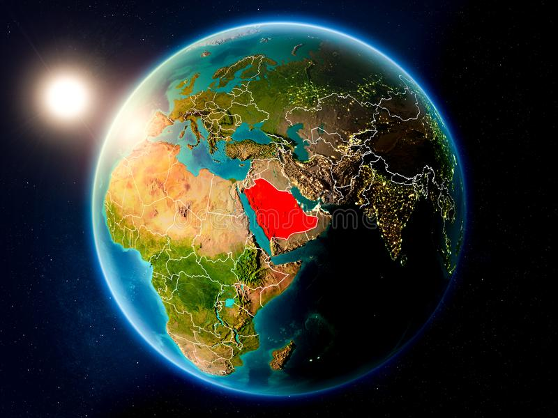 Saudi Arabia with sunset from space. Sunset above Saudi Arabia highlighted in red on planet Earth with visible country borders. 3D illustration. Elements of this stock photo