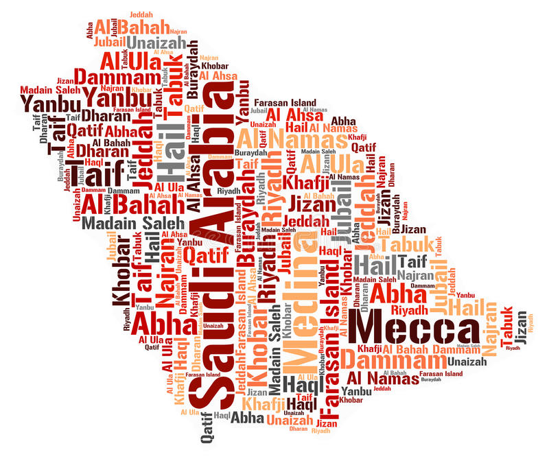 Saudi Arabia top travel destinations word cloud. Saudi Arabia map silhouette word cloud with most popular travel destinations stock illustration
