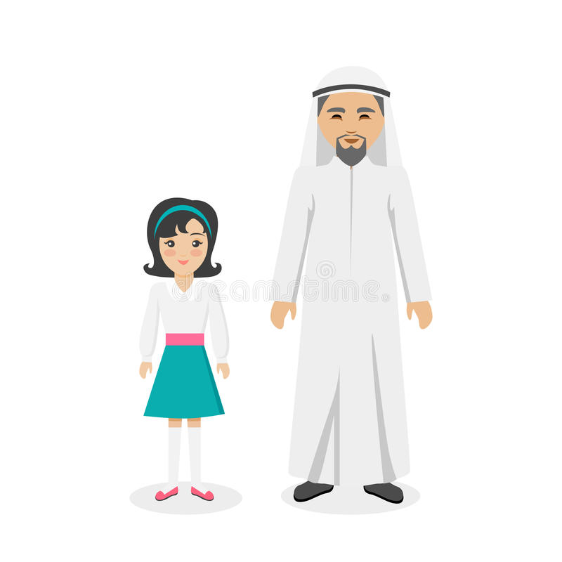 Saudi Arabia Traditional Clothes People royalty free illustration