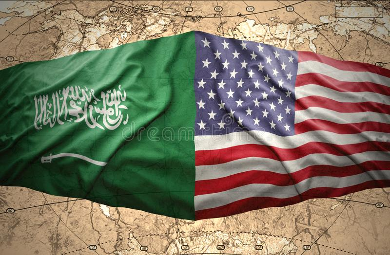 Saudi Arabia and United States of America. Waving Saudi Arabia and United States of America flags on the background of the political map of the world stock photos