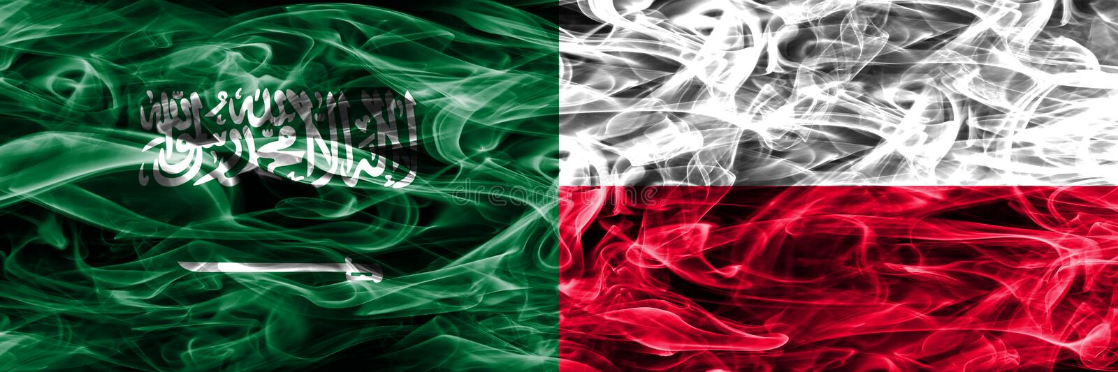 Saudi Arabia vs Poland smoke flags placed side by side. Thick colored silky smoke flags of Saudi Arabia and Poland. stock illustration