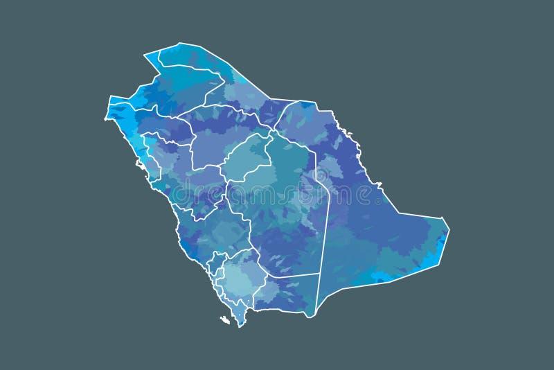 Saudi-Arabien Aquarellkarten-Vektorillustration der blauen Farbe mit Grenzen von verschiedenen Regionen auf dunklem Hintergrund stock abbildung