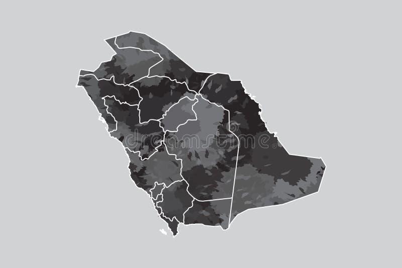 Saudi-Arabien Aquarellkarten-Vektorillustration der schwarzen Farbe mit Grenzen von verschiedenen Regionen auf hellem Hintergrund stock abbildung