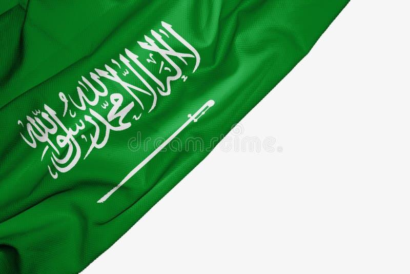 Saudi-Arabien Flagge des Gewebes mit copyspace f?r Ihren Text auf wei?em Hintergrund lizenzfreie abbildung