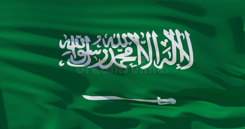 Saudi-Arabien Flagge, KSA, auf Seidenbeschaffenheitshintergrund Abbildung der Qualitäts 3D lizenzfreie abbildung