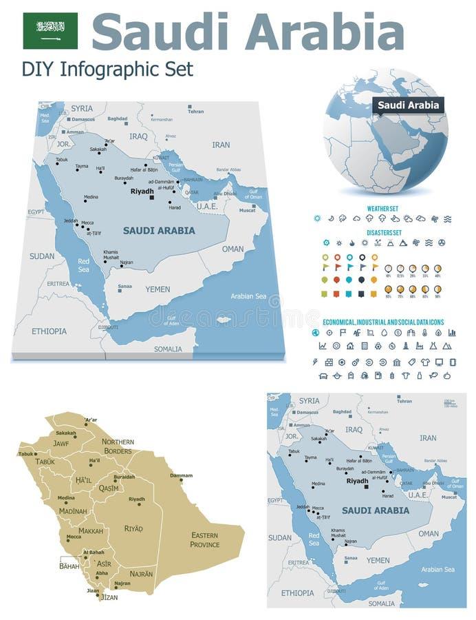 Saudi-Arabien Karten mit Markierungen lizenzfreie abbildung