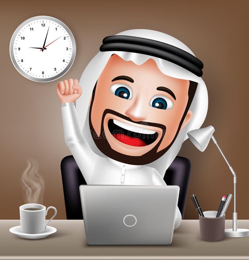 Saudi-arabischer Mann-Charakter, der an Geschäfts-Schreibtisch arbeitet lizenzfreie abbildung