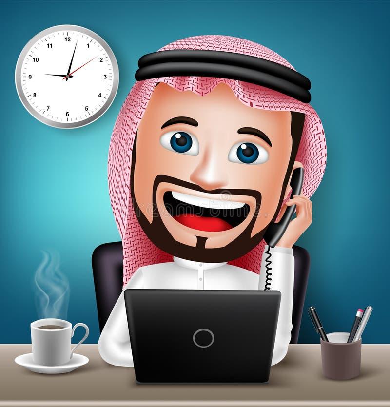 Saudi-arabischer Mann-Charakter, der an Schreibtisch-Tabelle arbeitet stock abbildung