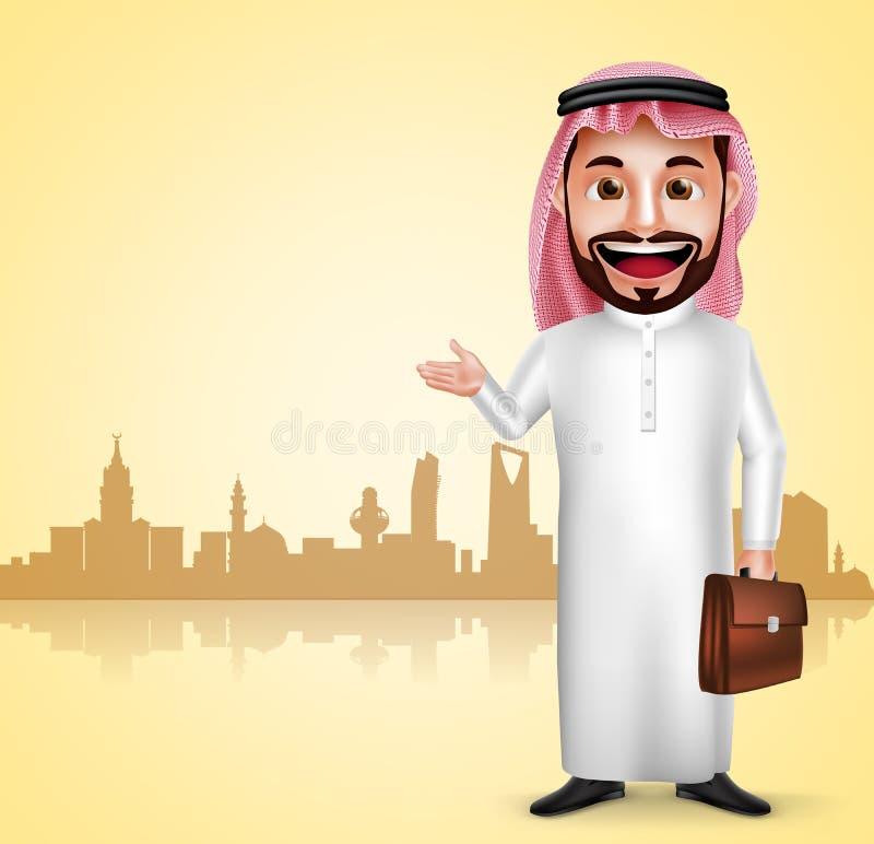 Saudi-arabischer Mannvektor-Charakter tragendes thobe, das Stadtmarkstein zeigt stock abbildung