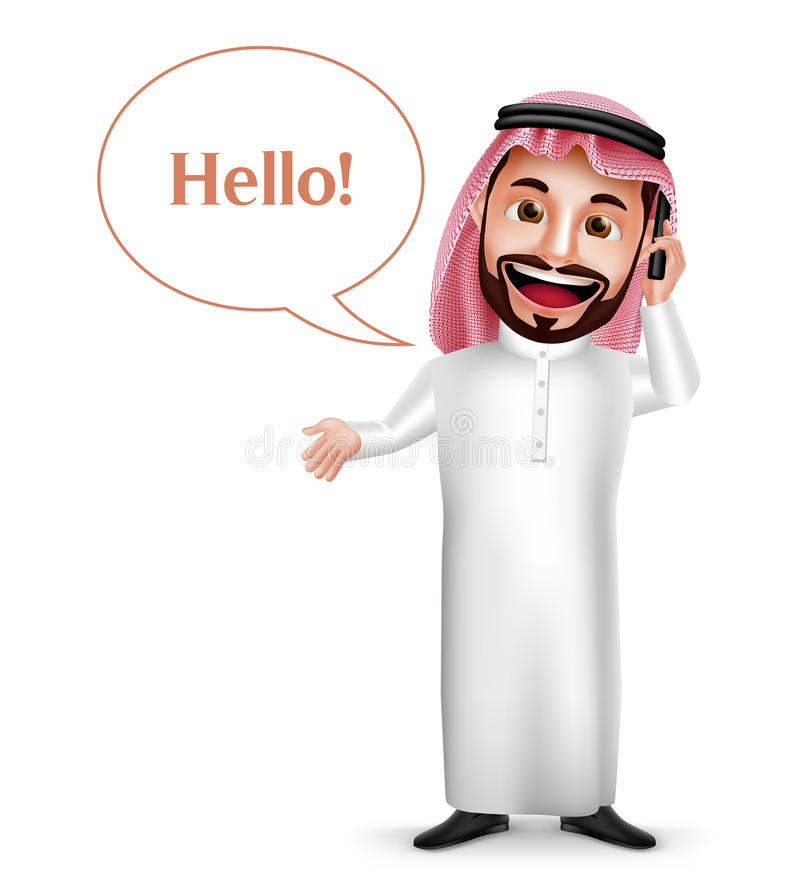 Saudi-arabischer Mannvektorcharakter, der Handy das Nennen hält lizenzfreie abbildung
