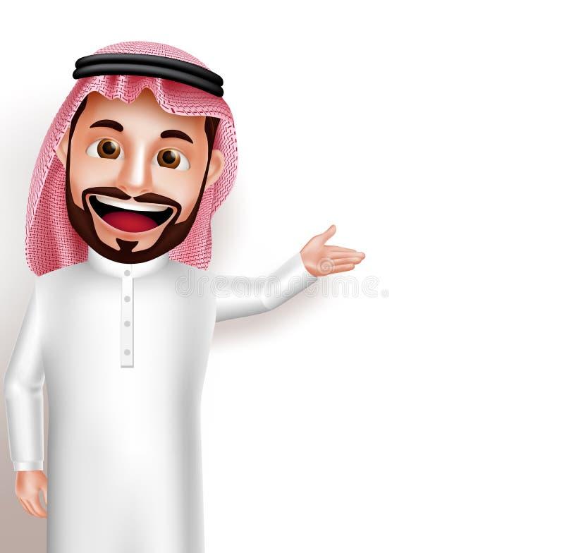 Saudi-arabischer Mannvektorcharakter tragende thobe glückliche Vertretung leer lizenzfreie abbildung