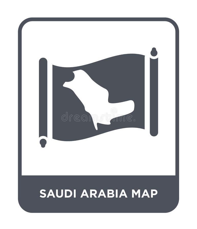 Saudiarabien översiktssymbol i moderiktig designstil Saudiarabien översiktssymbol som isoleras på vit bakgrund symbol för Saudiar stock illustrationer