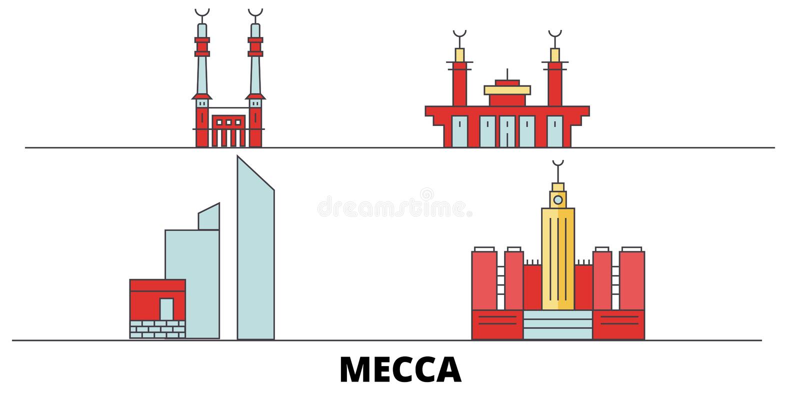 Saudiarabien för gränsmärkevektor för Mecka plan illustration Saudiarabien Meckalinje stad med berömda loppsikt, horisont royaltyfri illustrationer