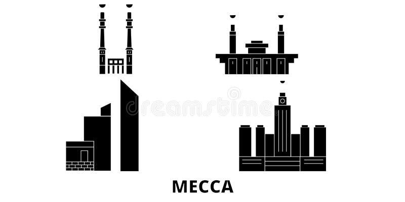 Saudiarabien för lopphorisont för Mecka plan uppsättning Saudiarabien illustration för vektor för Meckasvartstad, symbol, loppsik vektor illustrationer