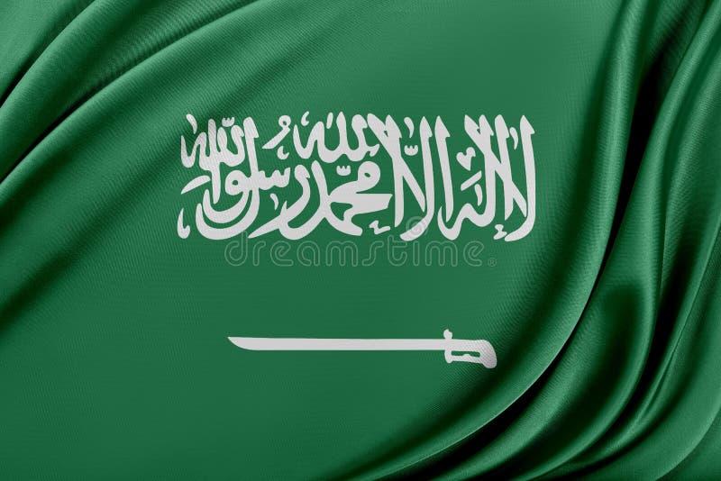 Saudiarabien flagga med en glansig siden- textur royaltyfri illustrationer