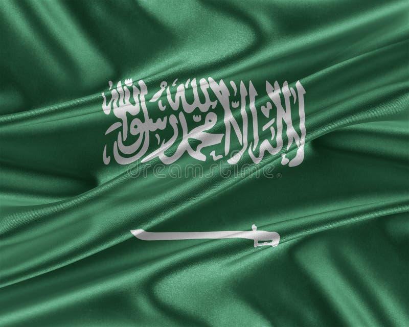 Saudiarabien flagga med en glansig siden- textur vektor illustrationer
