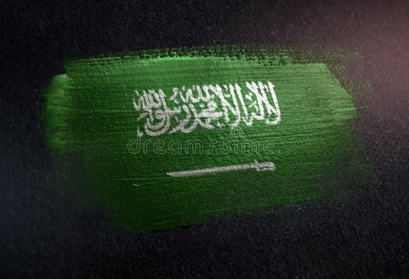 Saudiarabien flagga som göras av metallisk borstemålarfärg på Grungemörker Wa arkivbild