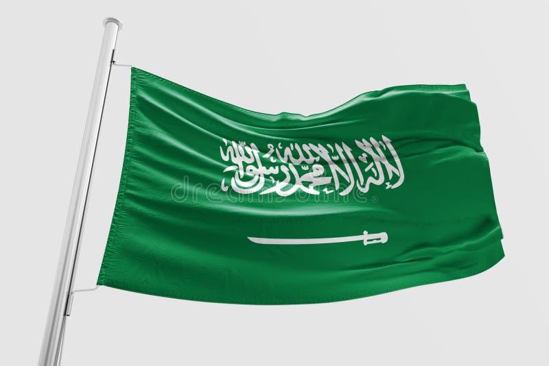 Saudiarabien flagga som vinkar den realistiska saudiarabiska flaggan 3d stock illustrationer