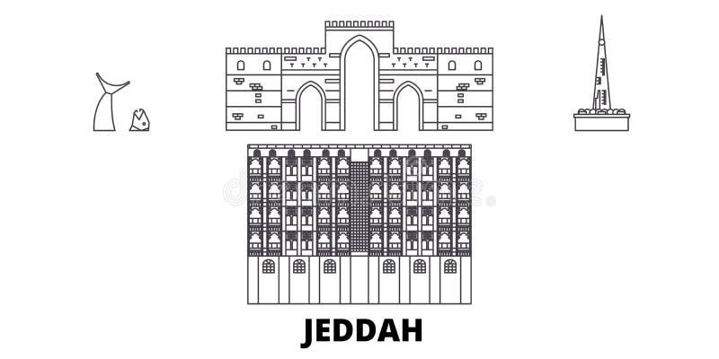 Saudiarabien Jeddah linje lopphorisontuppsättning Illustration för vektor för Saudiarabien Jeddah översiktsstad, symbol, lopp royaltyfri illustrationer